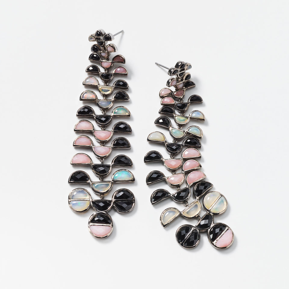 Black Spinel, Pink Opal and Ethiopian Opal Earrings