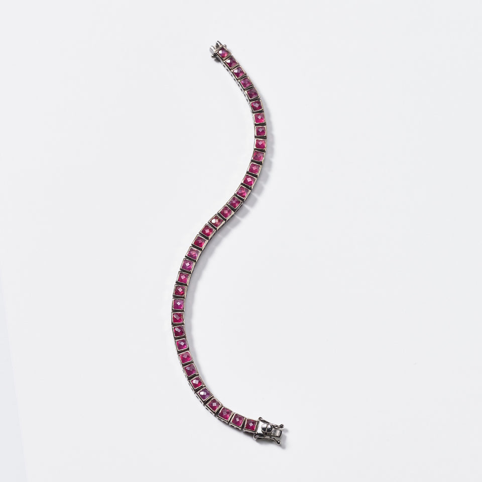 Mini Tile Tennis Bracelet - Ruby