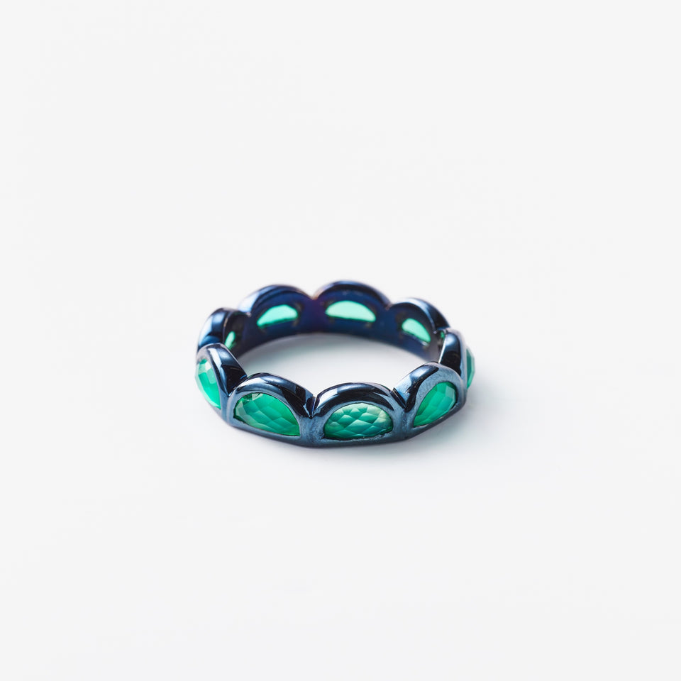 Small Scallop Band Ring - Green Onyx