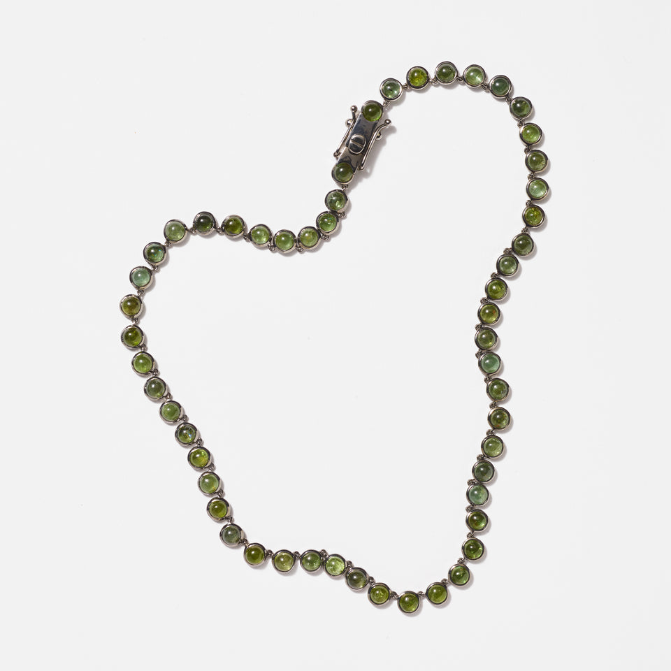 Mini Dot Riviere Necklace - Green Tourmaline