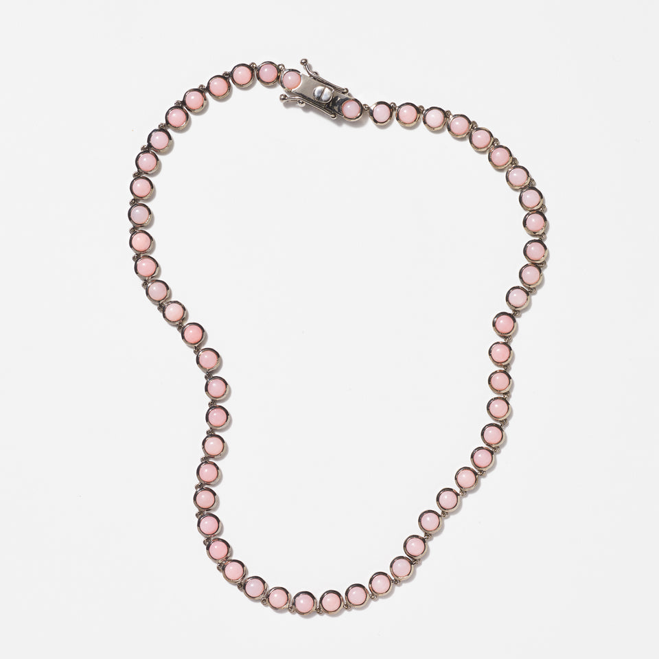 Mini Dot Riviere Necklace - Pink Opal