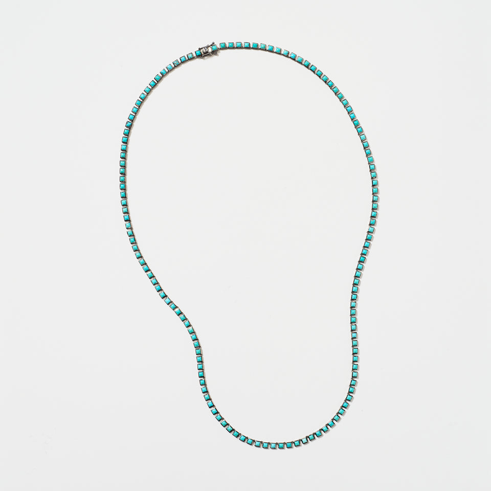 Mini Tile Opera Necklace - Turquoise