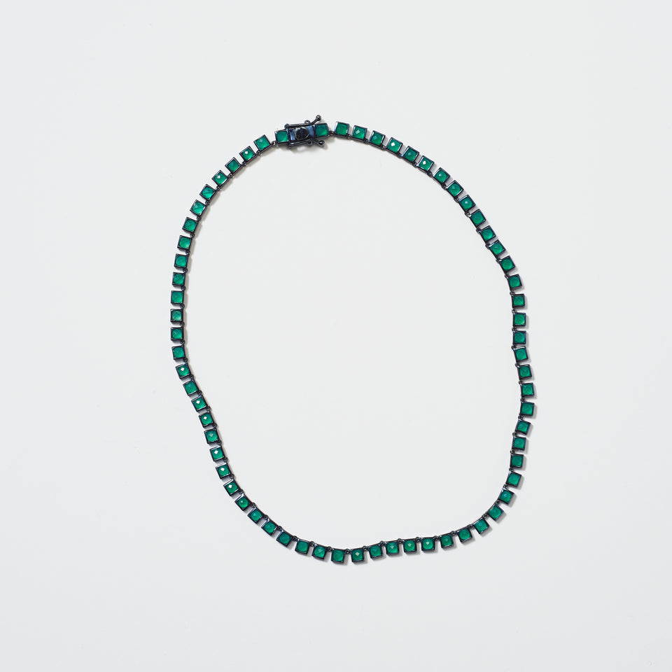 Mini Tile Riviere Necklace - Green Onyx