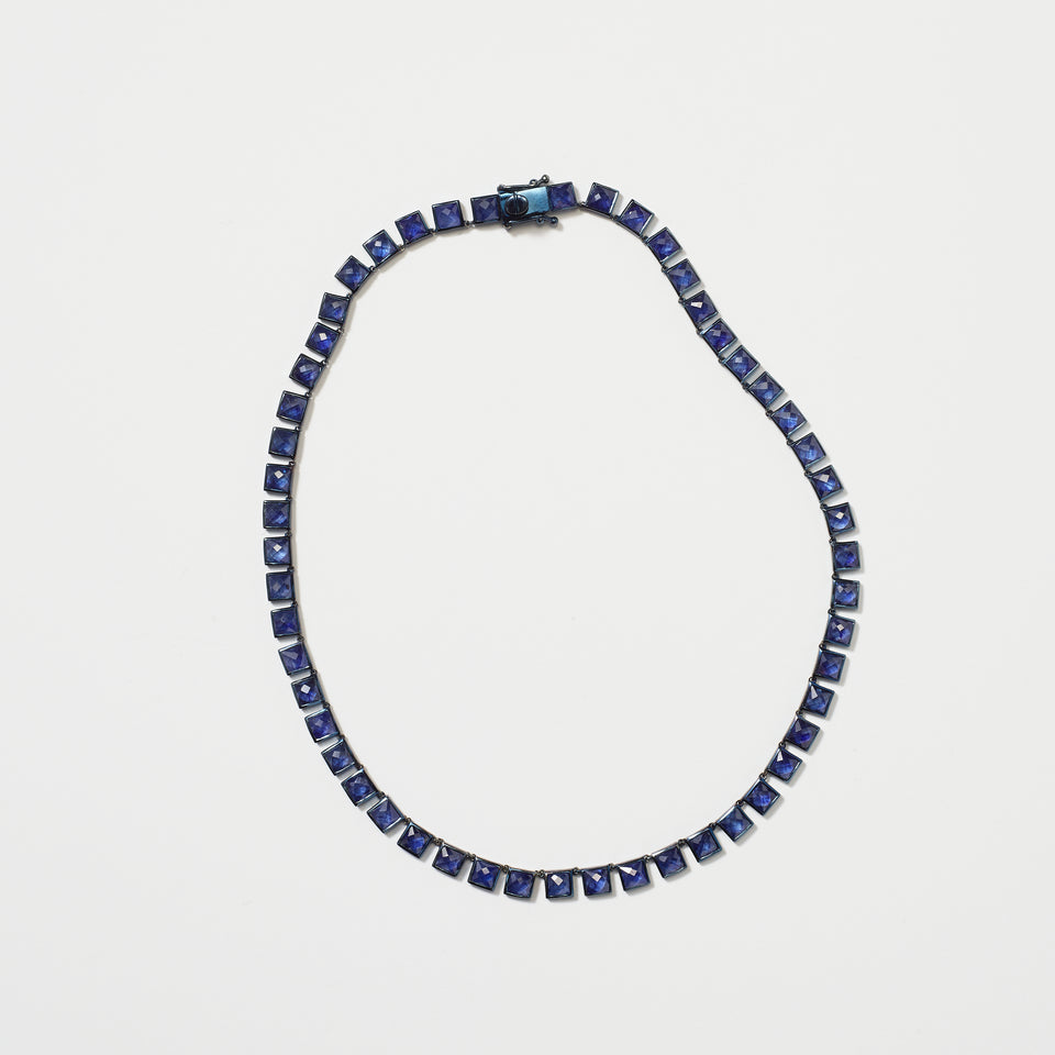 Small Tile Riviere Necklace - Blue Sapphire