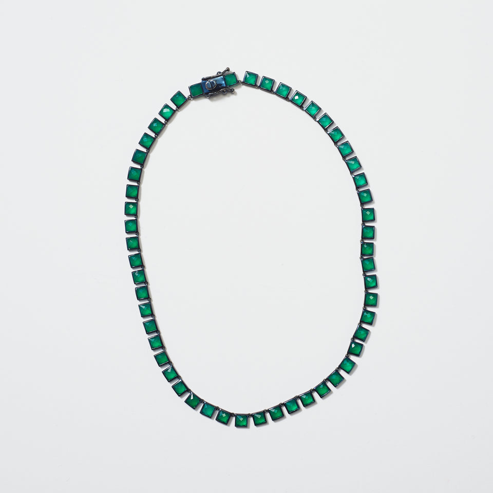 Small Tile Riviere  Necklace - Green Onyx