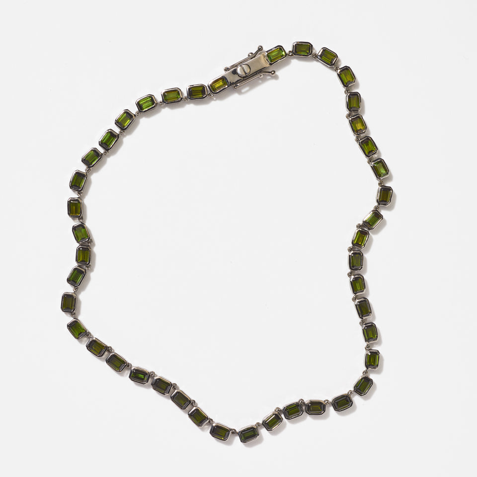 Small Deco-Tile Riviere Necklace - Green Tourmaline