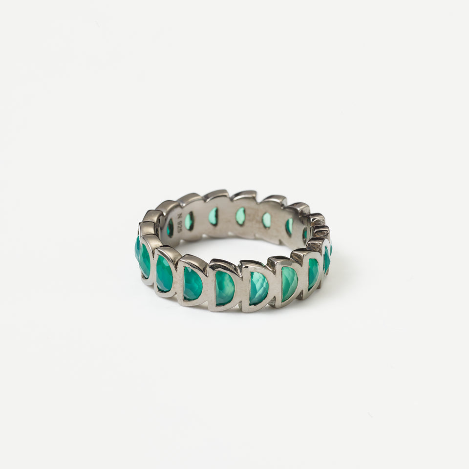 Worm Band Ring - Green Onyx
