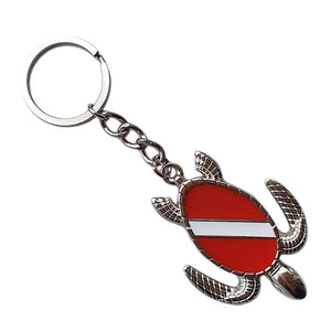 Sea Turtle with Scuba Diving Flag Key Chain - The Eagle Ray Dive Shop