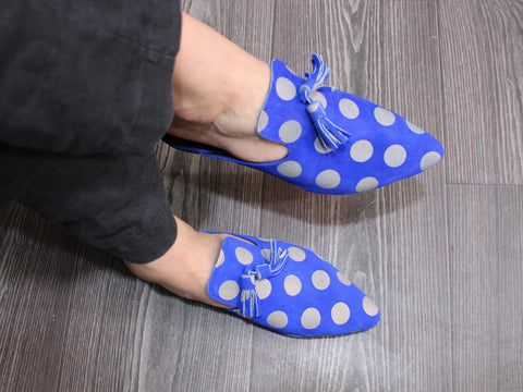Dan pompom leather shoes