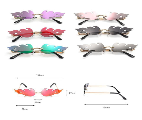 Fire Flame Rimless Sunglasses, A Unisex Sunglasses Dimensions