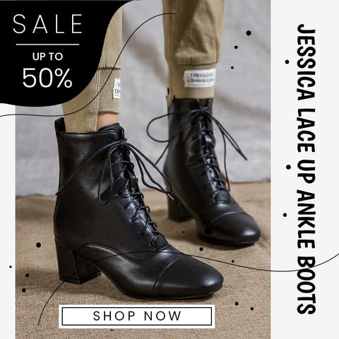 JESSICA LACE UP ANKLE BOOTS