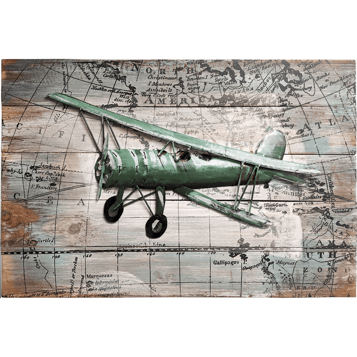 "World Traveling Airplane #3 24"" x 16"" Solid Pine Wood & Metal 3D Art"