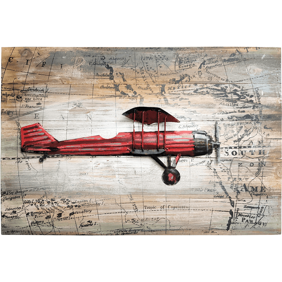 "World Traveling Airplane #1 24"" x 16"" Solid Pine Wood & Metal 3D Art"