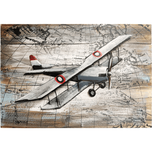 "World Traveling Airplane #2 24"" x 16"" Solid Pine Wood & Metal 3D Art"