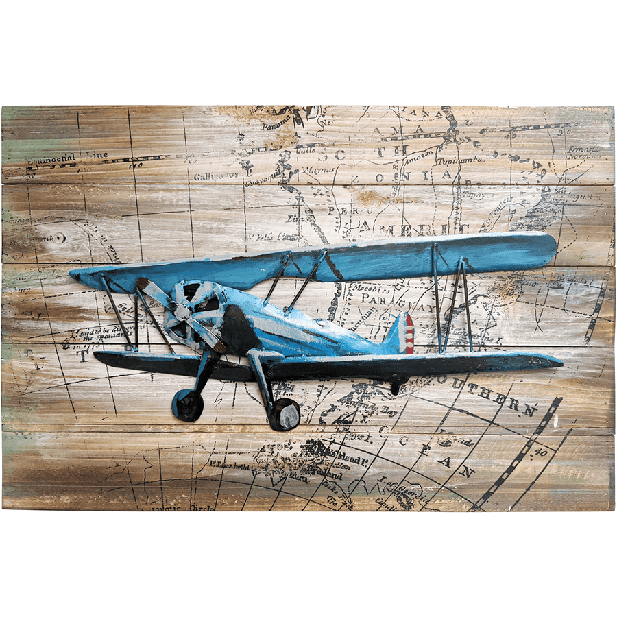 "World Traveling Airplane #4 24"" x 16"" Solid Pine Wood & Metal 3D Art"