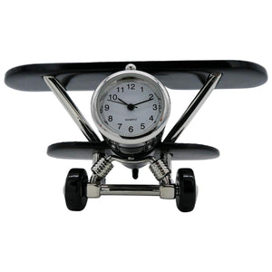 Black Biplane Desk Clock