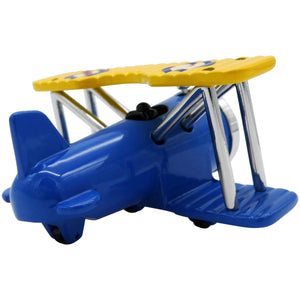 Blue and Yellow Biplane Desk Clock