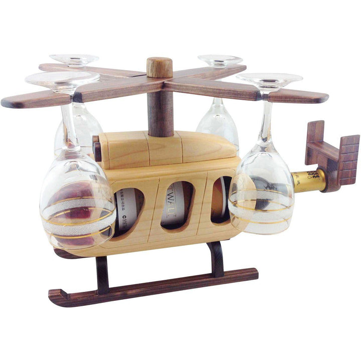 Helicopter Wine Glass & Bottle Holder Pilot Toys