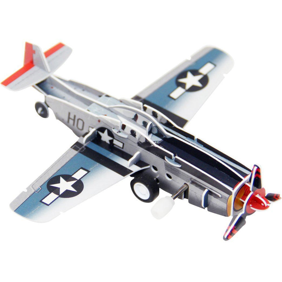 P-51 Mustang Wind-Up 3D Puzzle Pilot Toys