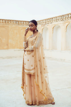Beige Kurta Sharara Set-Indian wear-pallavijaipur.com