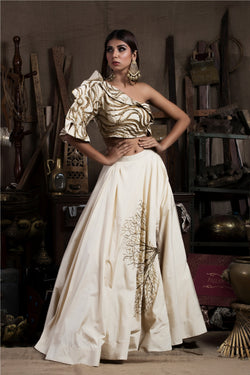 Fawn Off Shoulder Crop Top with Skirt-Indo Western-Pallavi Jaipur