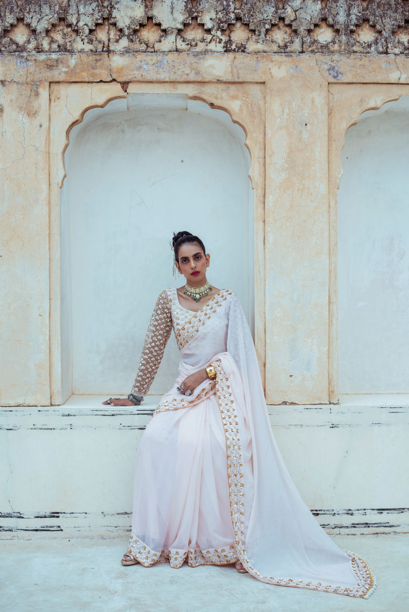 Almond Pink Embroidered Tulle Saree-Indian wear-pallavijaipur.com