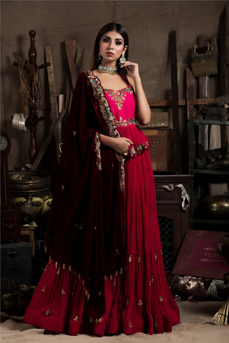 Red Embroidered Lehenga Set With Cape-Indian wear-pallavijaipur.com