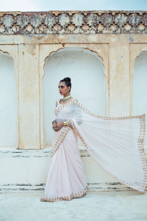 Almond Pink Embroidered Tulle Saree-Indian wear-Pallavi Jaipur