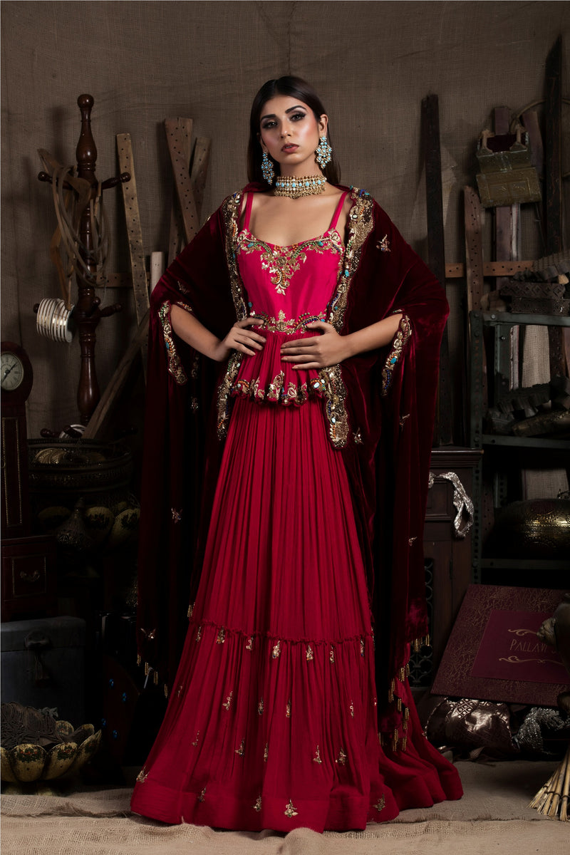 Red Embroidered Lehenga Set With Cape-Indian wear-Pallavi Jaipur