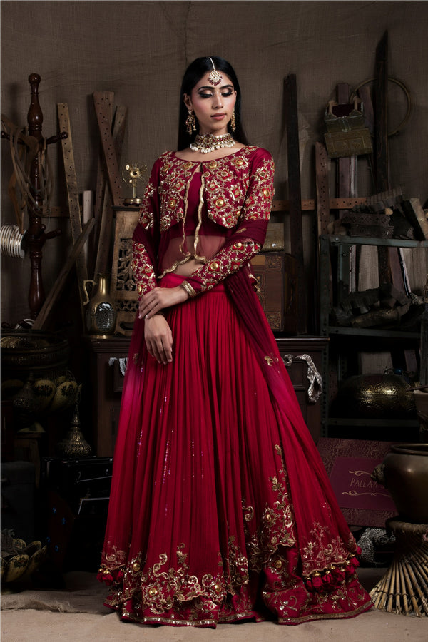 Red Chiffon Double Layered Lehenga Set-Indian wear-Pallavi Jaipur