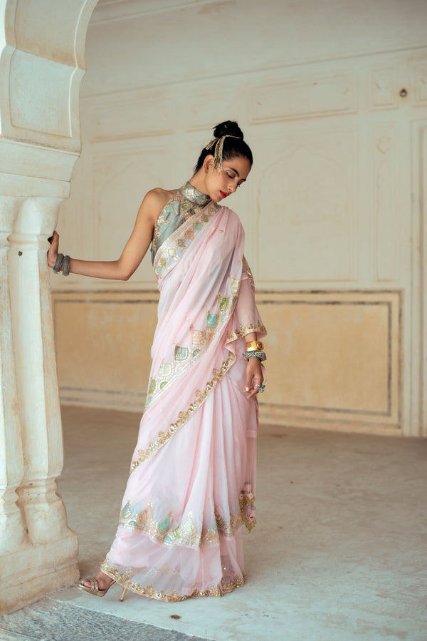 Soft Pink Silk Embroidered Saree-Indian wear-pallavijaipur.com