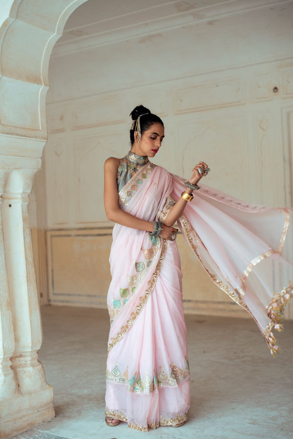 Soft Pink Silk Embroidered Saree-Indian wear-Pallavi Jaipur