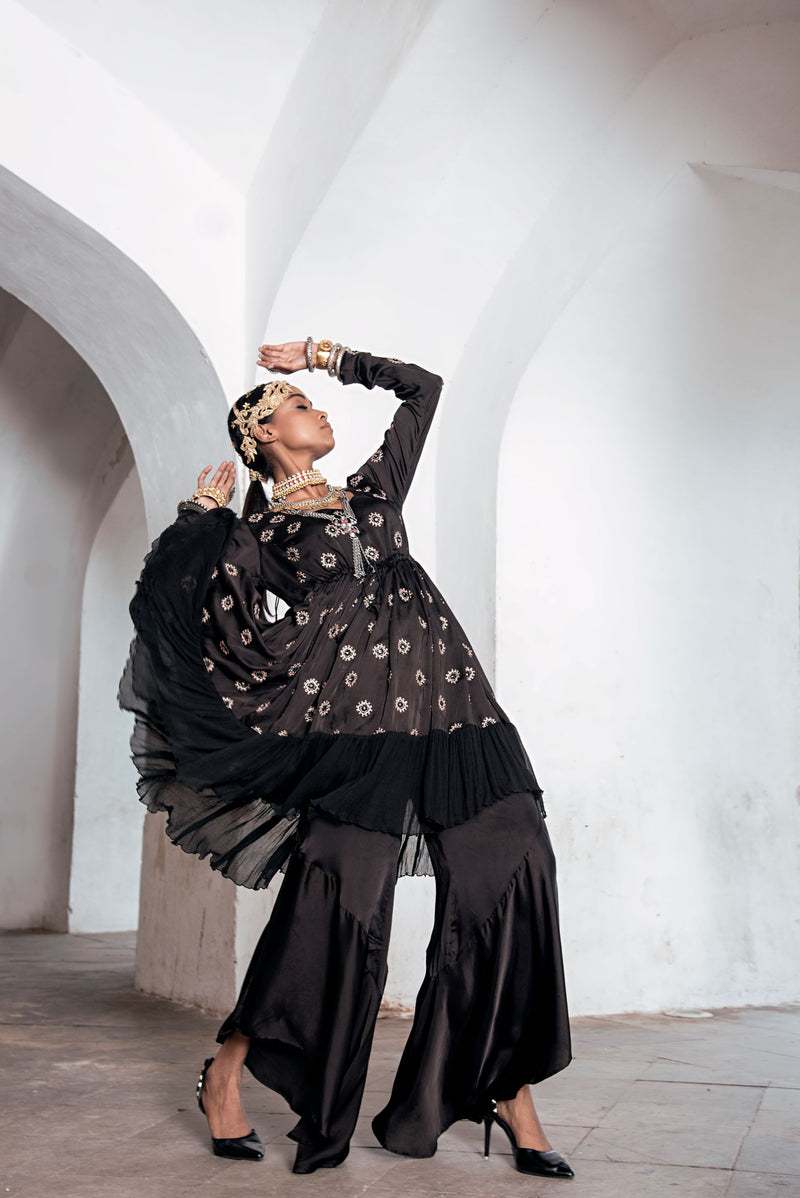 Black Kurta with Asymmetrical Pants-Indo Western-Pallavi Jaipur
