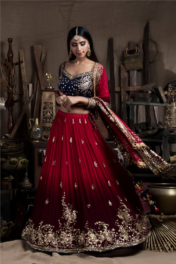 Red and Maroon Lehenga Set-Indian wear-Pallavi Jaipur