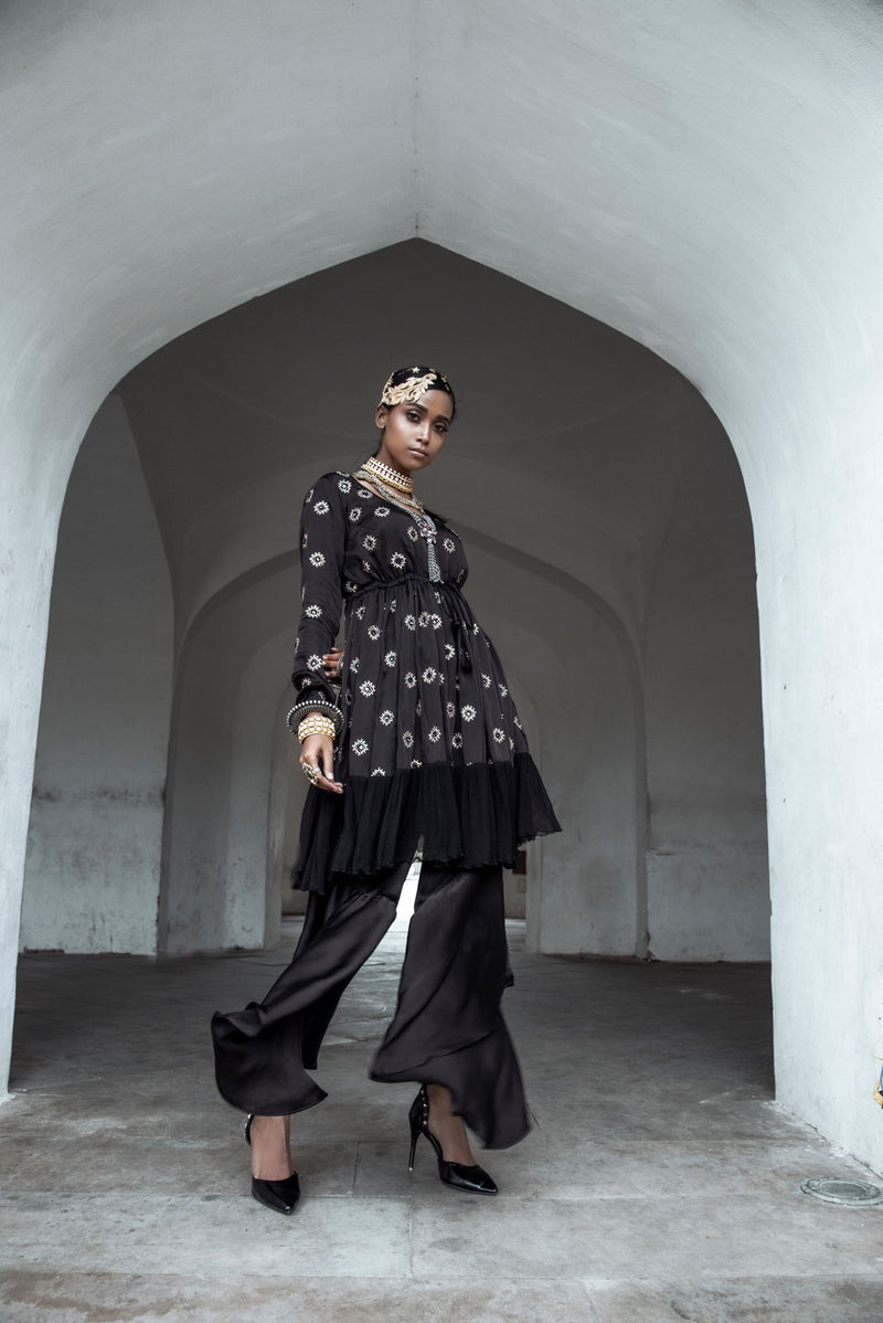 Black Kurta with Asymmetrical Pants-Indo Western-pallavijaipur.com