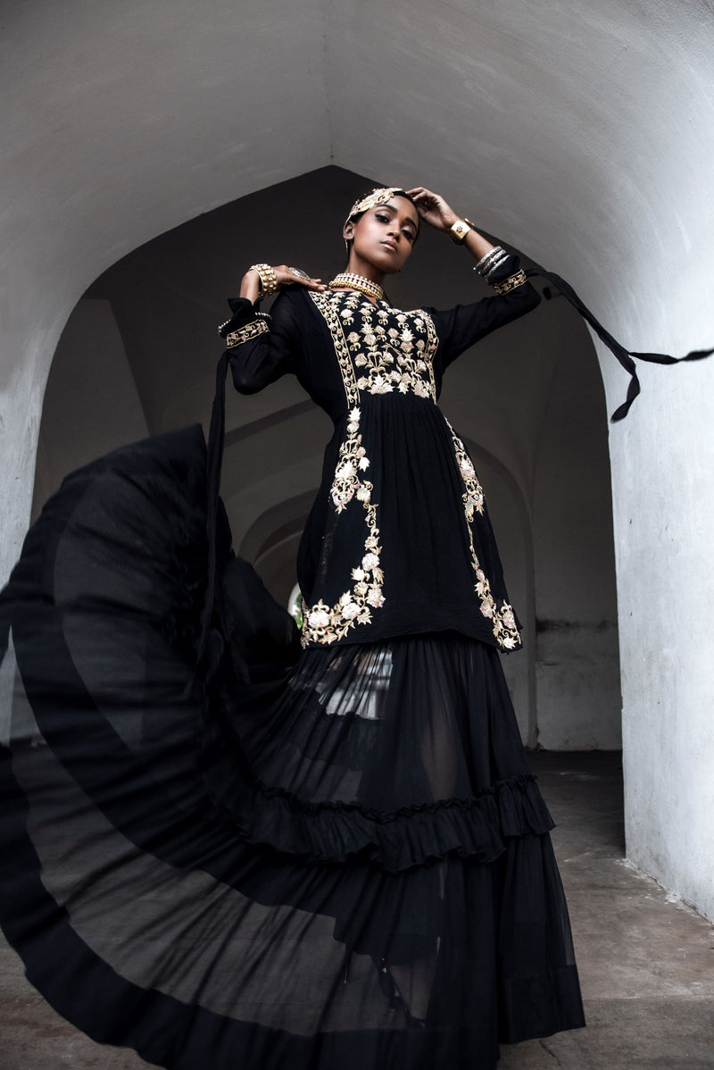 Black Zardosi Layered Long Dress-Indian wear-pallavijaipur.com