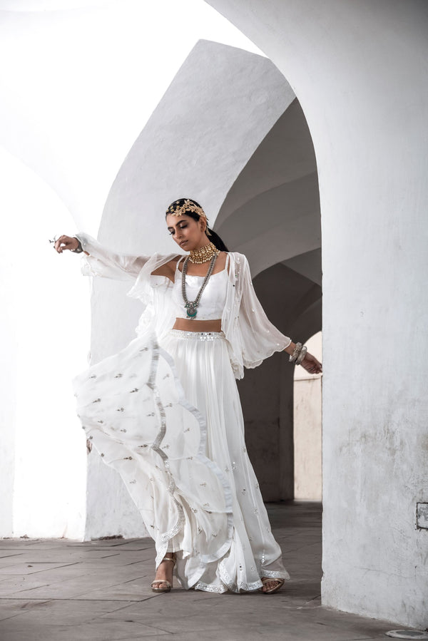 Off White Crop Top with Sharara-Indo Western-Pallavi Jaipur