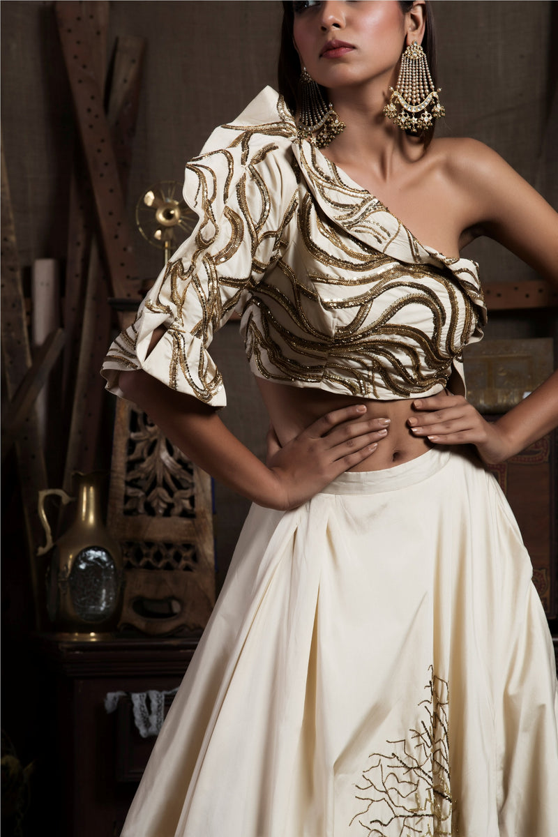 Fawn Off Shoulder Crop Top with Skirt-Indo Western-pallavijaipur.com