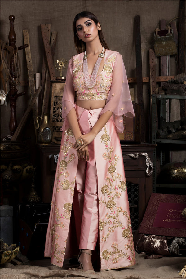 Pink Crop Top with Pants and Wrap Skirt-Indo Western-pallavijaipur.com