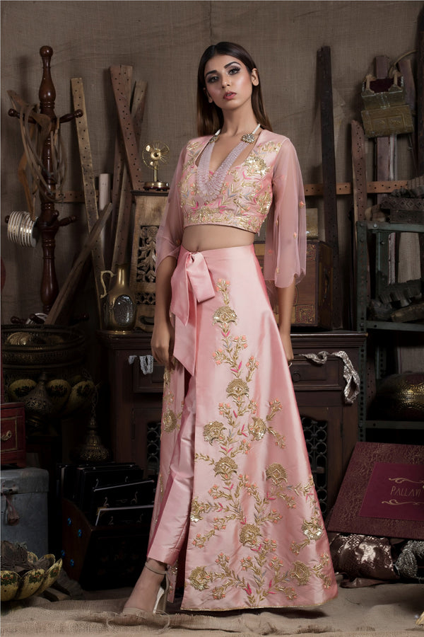 Pink Crop Top with Pants and Wrap Skirt-Indo Western-Pallavi Jaipur