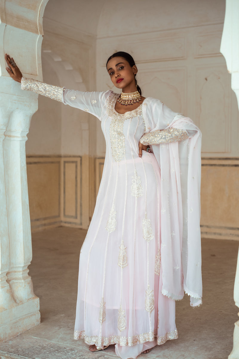Powder Pink Embroidered Anarkali Set