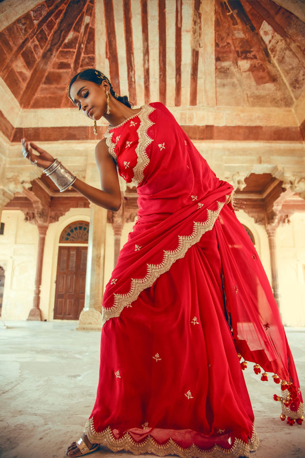 Red Silk Chiffon Embroidered Saree-Indian wear-Pallavi Jaipur