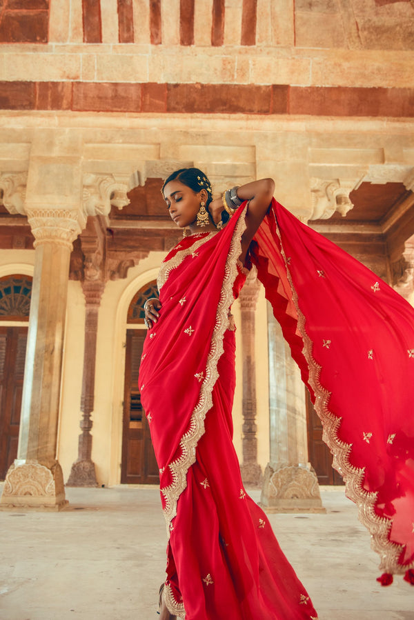 Red Silk Chiffon Embroidered Saree-Indian wear-pallavijaipur.com