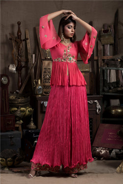 Raspberry Tunic with Crush Skirt Palazzo-Indo Western-Pallavi Jaipur