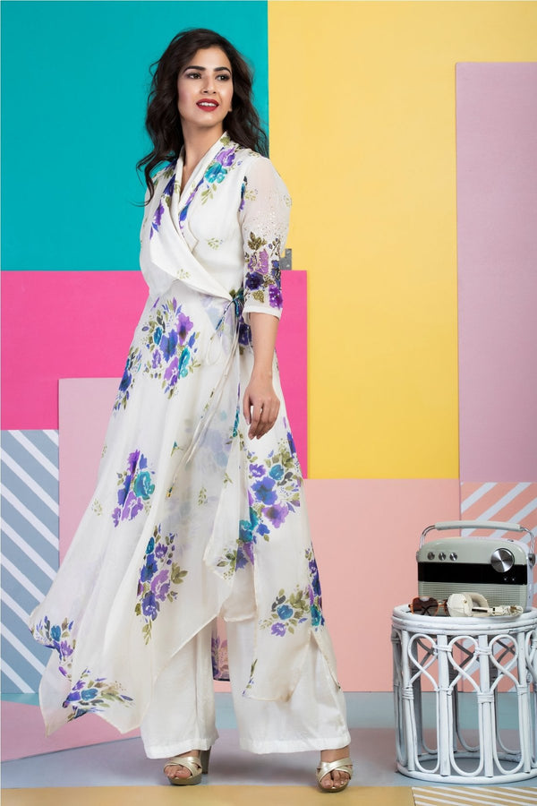 Angrakha Wrap with Ivory Culottes-Indo Western-pallavijaipur.com