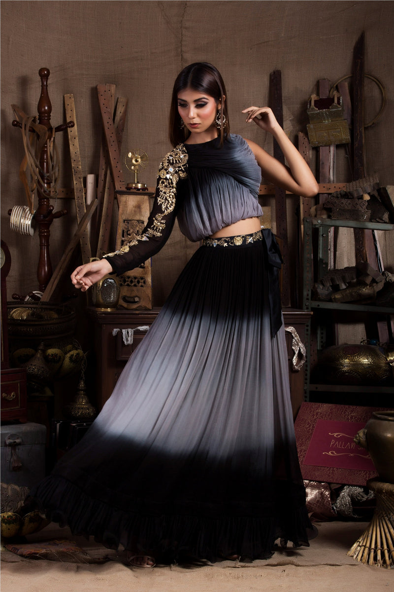 Black Grey Shaded Top with Skirt-Indo Western-Pallavi Jaipur