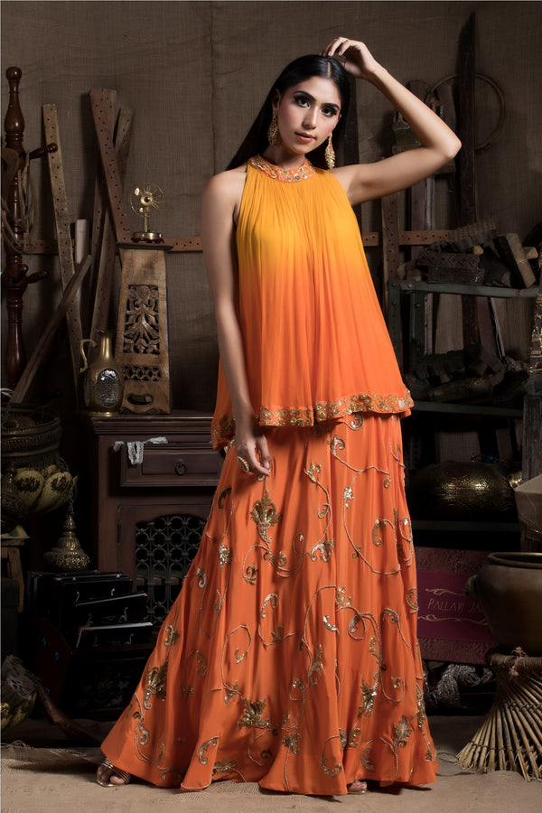 Yellow Tunic with Palazzo-Indo Western-pallavijaipur.com