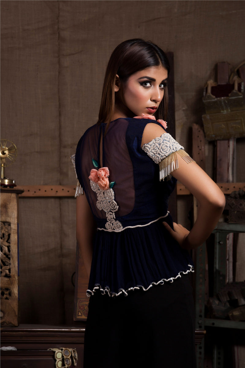 Midnight Blue Top with Pants-Indo Western-pallavijaipur.com