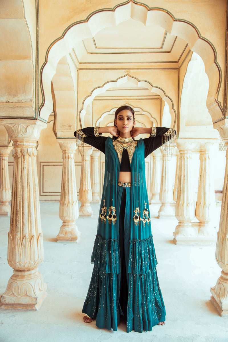 Bottle Green Crop Top Jacket Set-Indian wear-Pallavi Jaipur