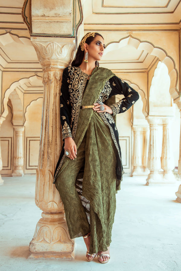 Dark Green Velvet Jacket and Saree Pant Set-Indian wear-Pallavi Jaipur